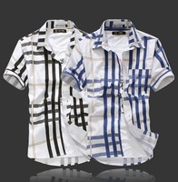 2013 Hot Sale Summer Fresh Geometry Plaid Color Block Male Short All-Match Short-Sleeve Shirt Free Shipping