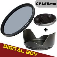 (3pcs/1lot)1pcs Digital Boy 55mm CPL C PL Lens Filter+ Lens Hood+Lens cap Filter kit for Canon Nikon Sony 18-55 55-200 55-250