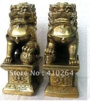 free shipping Chinese Foo Dog Lion Fu Bronze Statue Pair Figurines Feng Shui Items Oriental sz:11x6x8.3cm