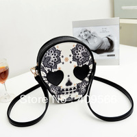 FREE SHIPPING 2013 new fashion women's handbag messenger totes designer bag small skull bags pu leather high quality