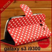 Dot Series Left and Right Open Leather Case Cover with Holder for Samsung Galaxy SIII / i9300