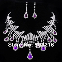 Free Shipping High Quality Purple Color Stone Silver Plated Promotion Fashion Wedding Jewelry Set