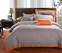 Free Shipping,100% cotton 4pcs full/queen/king bi-color orange blue checker pattern comforter/quilt/duvet covers bedding sets
