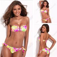 2014 New Arrival Swimwear for Women Floral Blooming Printed Pattern Mild Push up Bikini Set Split Strap Swimsuit S/M/L  BKN33