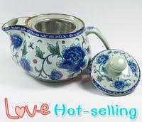 Hot-selling blue and white teapot celadon peony teapot kung fu teapot