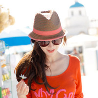 Free shipping Taper fedoras summer women's sun-shading strawhat network-well cool hat casual hat