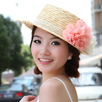 Free shipping Hat female summer lace strawhat flower rustic ccia cap strawhat