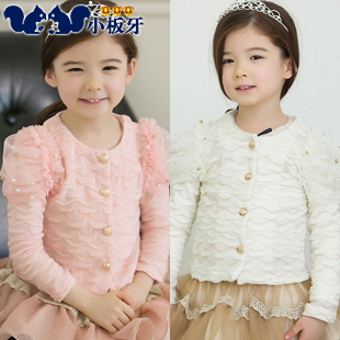Small die 2013 autumn children's clothing puff sleeve beading child baby female child cardigan 6350