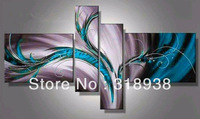 Framed 100% Hand Painted 4 panels blue abstract lines oil painting canvas art home decoration wall art Free shipping sa-827