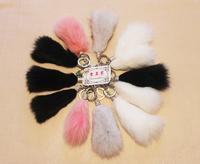 White fox fur car key fur hangings fur bags accessories mobile phone