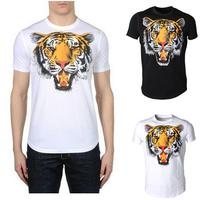 2013 summer fashion slim d2 100% cotton tiger pattern T-shirt male short-sleeve