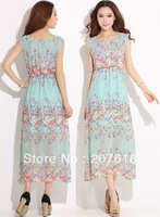 Summer Dresses 2013 New Women Ladies Sleeveless Floral Print Long Dress Bohemian Beach Dress Sundress