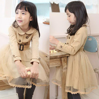 Free shipping hot new autumn winter Korean-style double-breasted long sleeve dress spinning baby girl coat children wear a belt