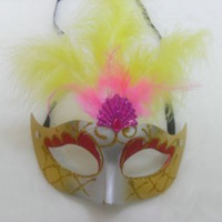 Free shipping wholesale 10pcs/lot Halloween mask hip-hop child adult mask feather mask colored drawing princess mask