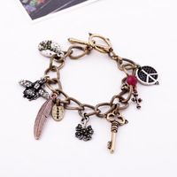 Min $20  accessories bee key pendant punk vintage women's bracelet