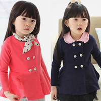 Hot Free shipping 2013 autumn new Korean style elegant round neck double-breasted jacket Girl princess trench wholesale children