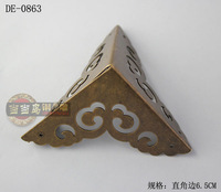 Chinese antique furniture wooden bread box copper corner brackets bronze horn DE-0863 6.5CM