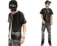 "Exclusive sale!!! Don`t Miss!!! 2013 mens fashion PU tshirt ""Snakeskin"" pattern leather shirt men zipper short-sleeve T-shirt"