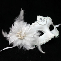free shipping wholesale 10pcs/lot Christmas masquerade party half face mask flower feather mask white female 22g