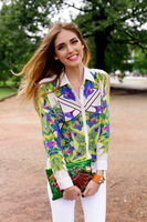 Fashion strapless msgm geometry shirt women's long-sleeve shirt flower shirt