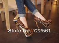 European and American fashion sexy leopard high heels shoes women shoes waterproof Taiwan fine with round