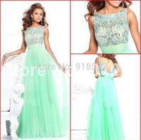 Stunning A-Line/Princess Bateau Beading Floor-Length Mint Green prom dress long 2015