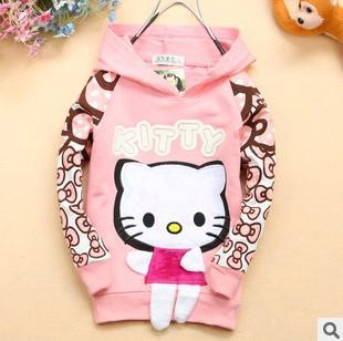9M-3Y new hello kitty hoodies sweatshirts 100% cotton kids girls autumn outerwear children's clothing jackets coat tops(China (Mainland))