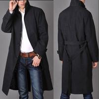 Hot sale Free shipping Men fashion high qulity long trench Coat / M-4XL
