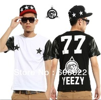 free shipping Brand new Heybig Pyrex 23 YEEZY 77 LES(ART)ISTS  fashion short t shirt men brand mens shirt leather sleeves