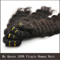 MY QUEEN HAIR 3pcs/lot 3bundles DEEP WAVE remy hair,brazilian virgin hair mix size8-32inch color 1B#