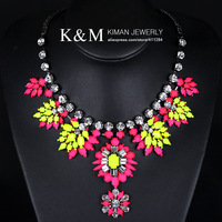 New arrival luxurious rhinestone resin stone nice cup chain famous brand necklace four colors. Over $20 for free shipping