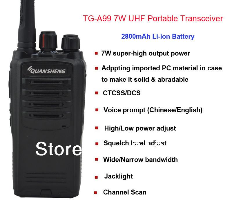 Quansheng 7W tg/a99 UHF /walkie talkie /2800mah TG-A99