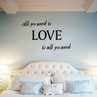 Free Shipping Lettering All You Need Is Love Words Quote Bedroom Living Room Wall Sticker Decor Home Decoration Decal D089