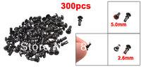 300 Pcs Black Nylon 2.6mm Bottom Dia Push Clips Rivets Fasteners R2655