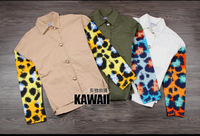 2013 new winter leopard camouflage streets stitching lovers male and female models long-sleeved jacket