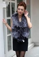 Fox fur vest fur fox wool fur vest waistcoat vest