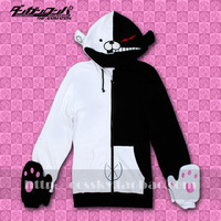 Dangan Ronpa Dangan-Ronpa Mono Kuma Black/White Bear Cosplay Costume Hoodie  hooded men jacket