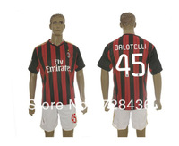 13 /14 AC Milan Red and Black Home Jersey+Shorts Balotelli 45# Football Clothing Free shipping