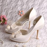 Brand Disount Fashionable Silver Wedding Bridal Evening Shoes Satin Peep Toe High Heel 10cm