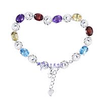 S925 pure silver natural crystal gem bracelet fashion multicolour Women gem bracelet 9775