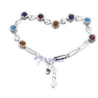 Girlfriend gifts natural multicolour gem bracelet 925 silver fashion bracelet female : 9874
