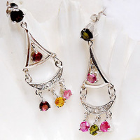 Red and green tourmaline earrings 925 pure silver vintage fanghaped ear hung natural tourmaline certificate
