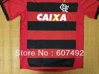 13/14 season ClubFlamenco home tshirts,Flamenco home embroidery logo ClubFlamenco red with black , brazil club  fast shipping