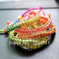 2013 Free shipping Fashion hand made Fluorescence Wrapped Bracelet Neon Rope Friendship Bracelet