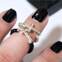 Min order $18(can mix item)Free shipping Fashion cool rhinestone cross ring gold/silver/black