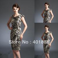 elegant leopard-spotted slim fit cap sleeve knee-length mother of bride dress