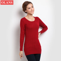Korean Neck Pure Slim Long sleeve Sweater Free shipping Women's Sweater