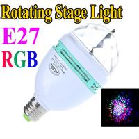 85-260V RGB Full Color 3W E27 LED Bulb Crystal Auto Rotating Stage Effect DJ led Lamp Light Stage Lighting Bulbs Free Shipping