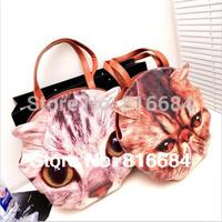 Free shipping !! 1pcs / Lot 2015 Brand Bag Fashion Designer Cat Face Head Bag Vintage Messager Bag Women's Painting Handbag