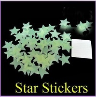 300pcs/set Star Wall sticker Room decoration Luminous free shipping